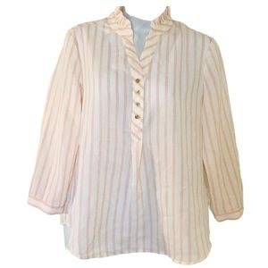 Anne Klein 3/4 Sleeves Striped Blouse Size SP